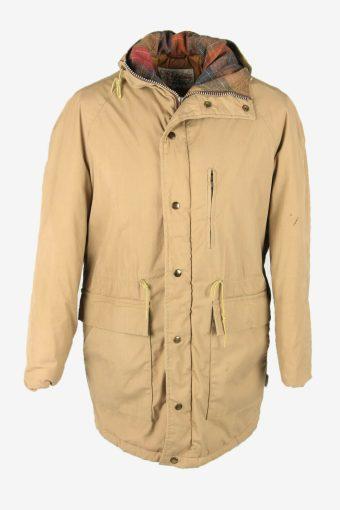 Vintage Parka Coat Jacket Hooded Lined Pockets Winter Warm  Beige Size XL