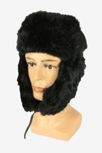 Vintage Russian Style Rabit Fur Hat Earflaps Winter Black Size 57 cm