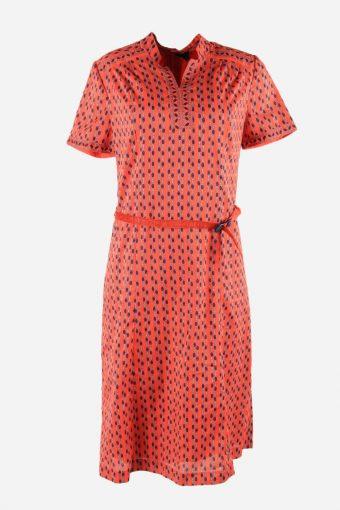 Vintage Short Sleeve Dress Print V Neck With Belt Midi Women Pink Size L