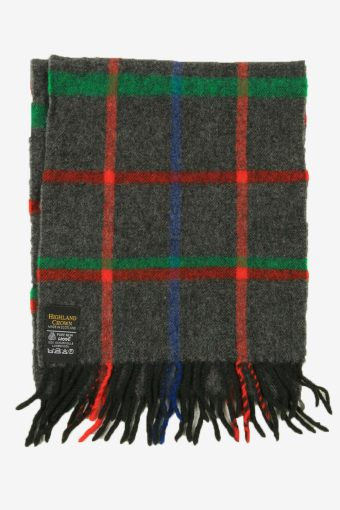 Wool Vintage Check Tartan Neck Warmer Scarf Soft  90s Retro Grey