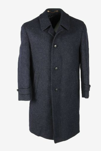 Wool Vintage Coat Jacket Casual Winter Warm Blend Lined Navy Size M