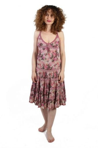 Zara Trf Pink Floral Cami Cotton Dress with Laces  Size S