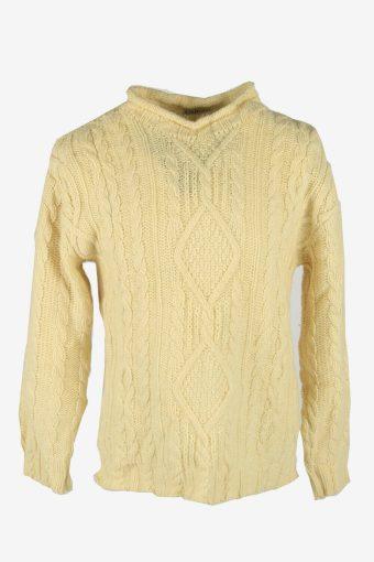 Aran Knit Wool Jumper Vintage Crew Neck Pullover 90s Cream Size M