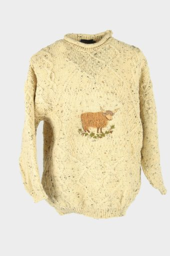 Cable Knit Wool Jumper Vintage Crew Neck Pullover 90s Beige Size XL