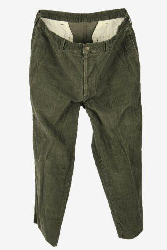 Corduroy Cord Trousers Vintage Loose Comford Smart Khaki Size W35 L28