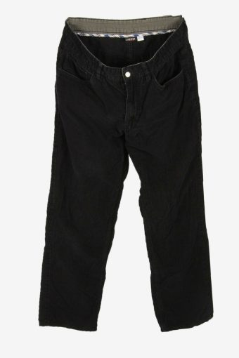 Corduroy Cord Trousers Vintage Relaxed Fit Casual Black Size W34 L31