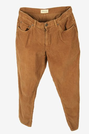 Corduroy Cord Trousers Vintage Straight Casual Brown Size W34 L28