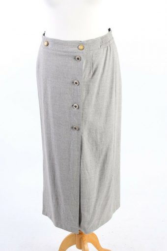 Creation Charmante Long Lined Skirt Smart Button Down Vintage Grey