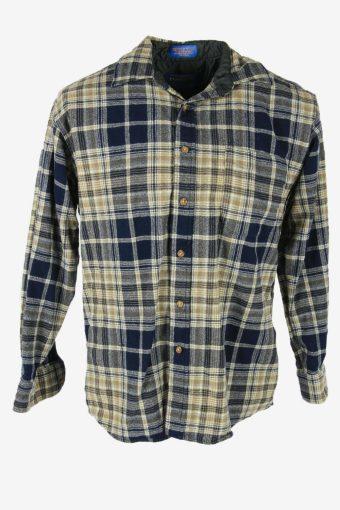 Flannel Shirt Vintage Check Long Sleeve Button 90s Cotton Multi Size M