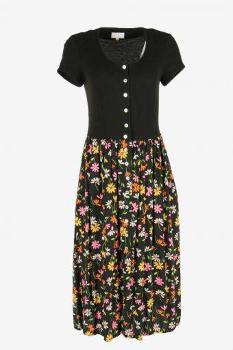 Flowers  Print Dress Midi Short Sleeve Scoop Neck Retro Black Size S