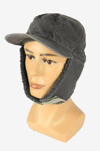 Fur Cap Hat Vintage Earflaps Ski Cossack Winter 90s Grey Size 58 cm