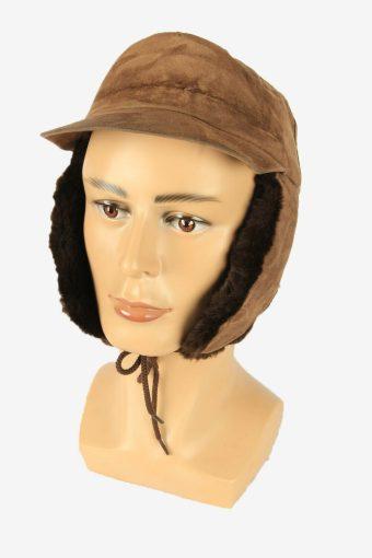 Fur Suede Cap Hat Vintage Earflaps Ski Cossack 90s Brown Size 57 cm