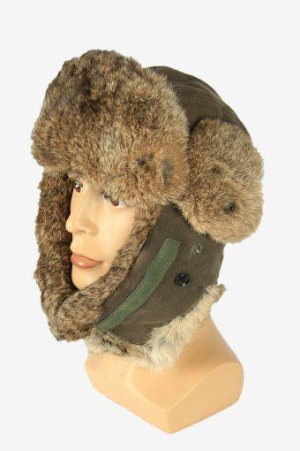 Fur Ushanka Hat Vintage Earflaps Ski Cossack 90s Grey Size 60 cm