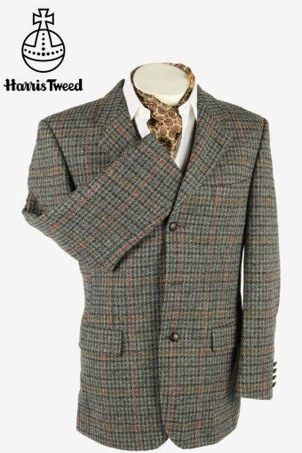 Harris Tweed Vintage Blazer Jacket Check Windowpane Weave Grey Size M