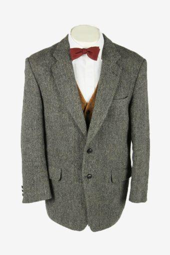 Harris Tweed Vintage Blazer Jacket Herringbone Country Weave Grey Size L