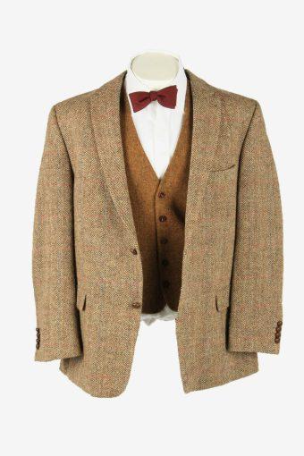 Harris Tweed Vintage Blazer Jacket Herringbone Elbowpatch Beige Size XL