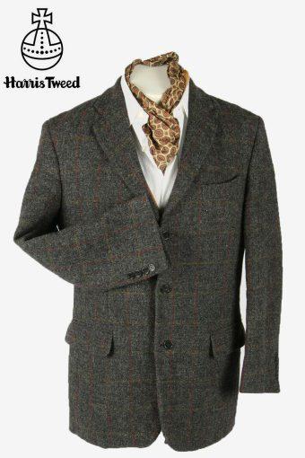 Harris Tweed Vintage Blazer Jacket Windowpane Country Weave Grey Size M