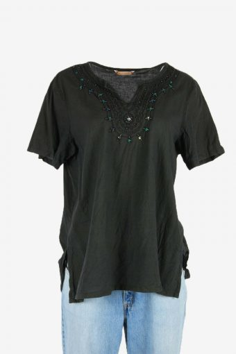 Hippie Gypsy Embroidered Blouse Tunic Top Vintage Kaftan Black Size XXL