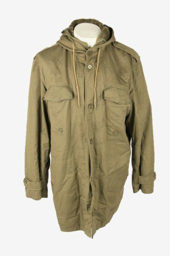 Military Army Parka Vintage Jacket Adjustable Fleece Lined Khaki Size XXL