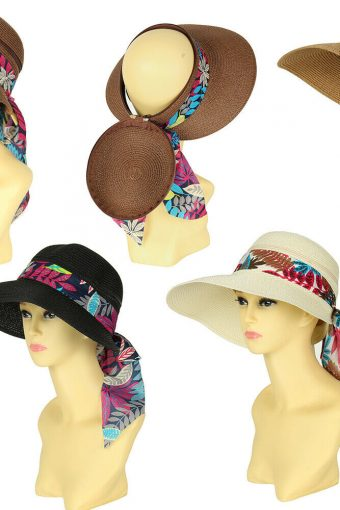New Straw Zip Off Crown Convertible Hat Sun Cap With Large Peak Visor