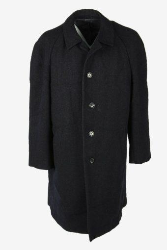 Overcoat Vintage Wool Coat Jacket Classic Warm Lined 90s Navy Size XXXL
