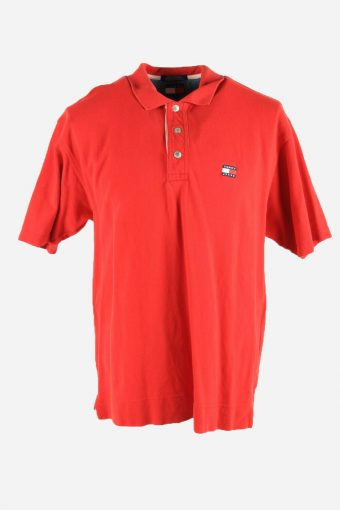 Polo Shirts Men Tommy Hilfiger Pique Golf  Tshirt Casual 90s Red Size L