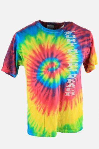 Rainbow Tie Dye T-Shirt Retro 90s Music Festival Hipster Men Multi Size M