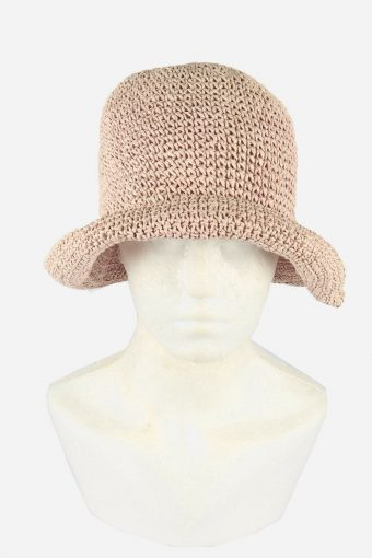 Straw Style Hat Brimmed Summer Bowknot 80s Retro Rose Pink Size 58 cm
