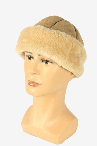 Suede Fur Winter Hat Cossacks Vintage Warm 80s Beige Size 56 cm