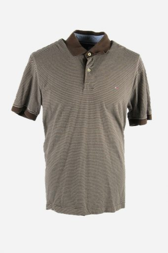 Tommy Hilfiger Polo Shirt Short Sleeve Top Tee Golf 90s Men Brown Size L
