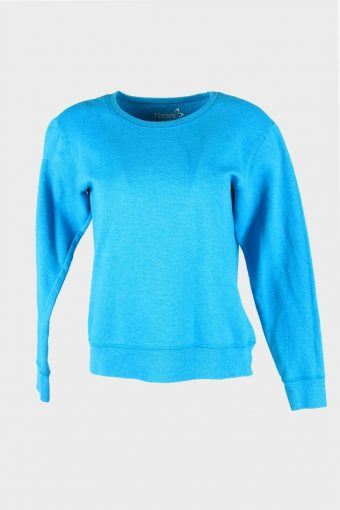 Vintage 90s Sweatshirt Plain Pullover Sports Retro Turquoise Size S