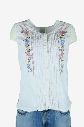 Vintage Boho Floral Blouse Indian Hippie Gypsy 90s Retro White Size L