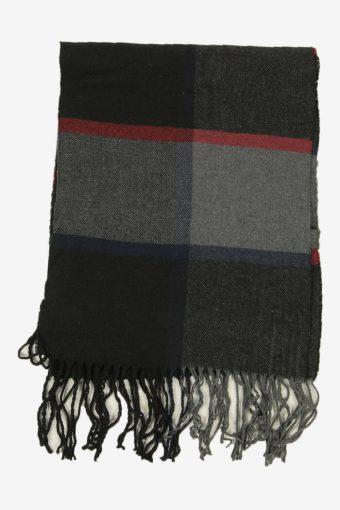 Vintage Check Tartan Neck Warmer Scarf Winter Soft  90s Retro Black