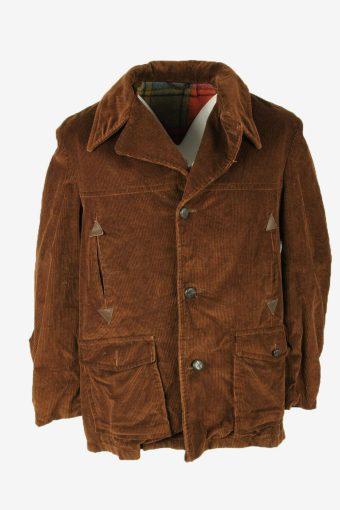 Vintage Corduroy Coat Jacket Blanked Lined Pockets Retro 90s Brown Size L
