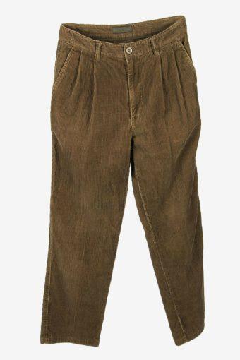 Vintage Corduroy Cord Trousers Loose Comford Smart Khaki Size W31 L30