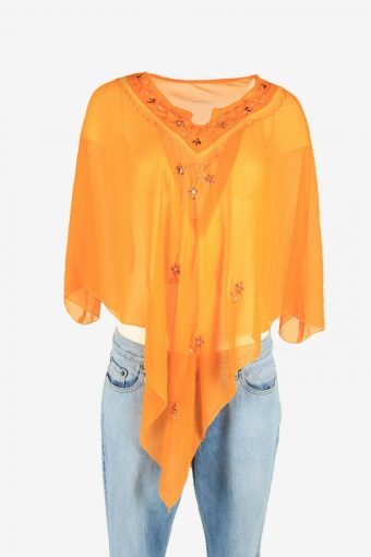 Vintage Embroidered Hippie Gypsy Blouse Tunic Top Orange Size One Size