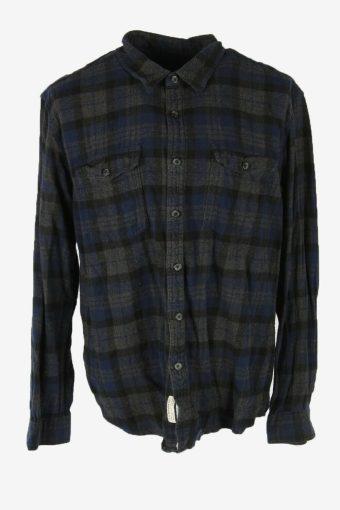 Vintage Flannel Shirt Check Long Sleeve 90s Cotton Dark grey Size XXL – SH4224