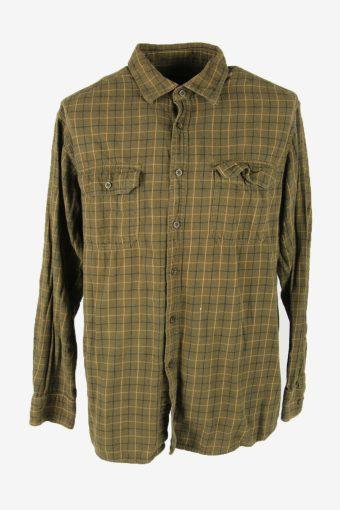 Vintage Flannel Shirt Check Long Sleeve Button 90s Cotton Khaki Size XL