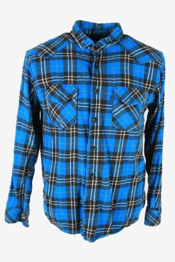 Vintage Flannel Shirt Check Long Sleeve Button Cotton 90s Blue Size M – SH4221