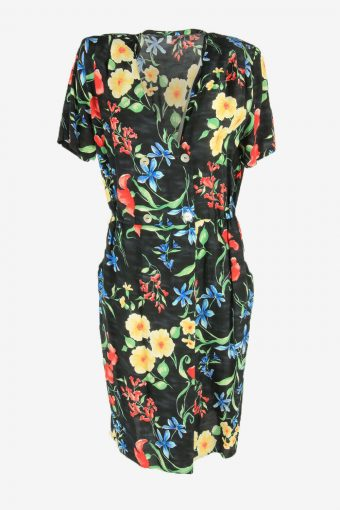 Vintage Floral Maxi Dress Short Sleeve V Neck 90s Retro Black Size XL