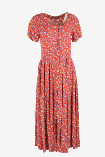 Vintage Floral Midi Dress Short Sleeve Scoop Neck 90s Red Size S