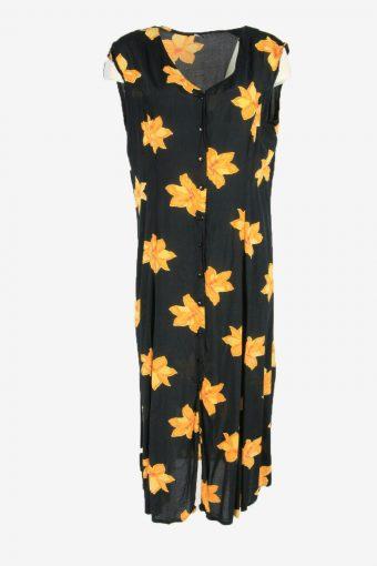 Vintage Floral Mini Sleeveless V Neck 90s Black Black Size XL