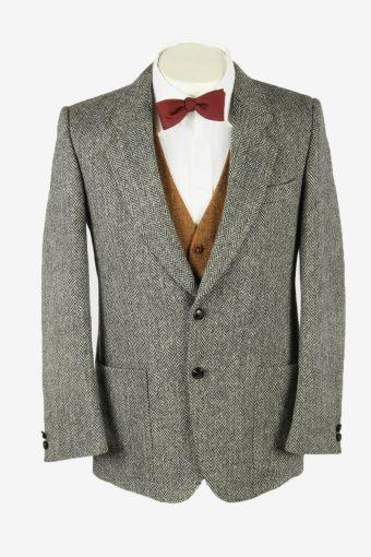 Vintage Harris Tweed Blazer Jacket Herringbone Country Weave Grey Size M