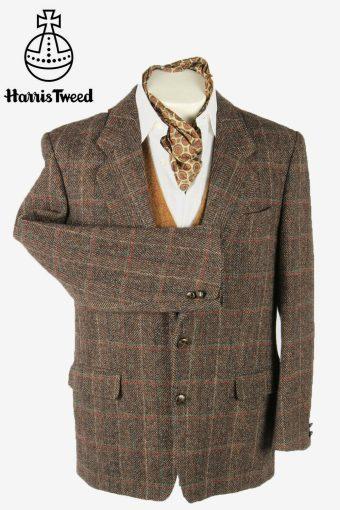 Vintage Harris Tweed Blazer Jacket Windowpane Elbowpatch Multi Size L