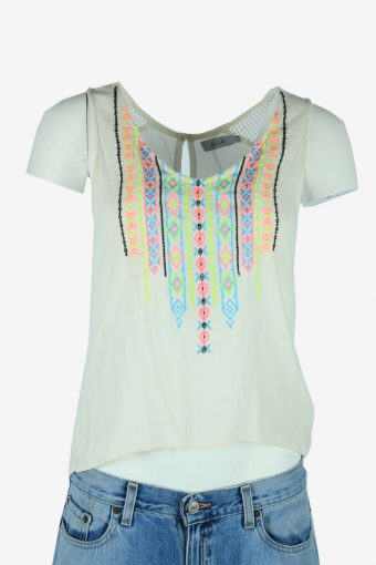Vintage Hippie Gypsy Embroidered Blouse Indian Top Kaftan White Size S