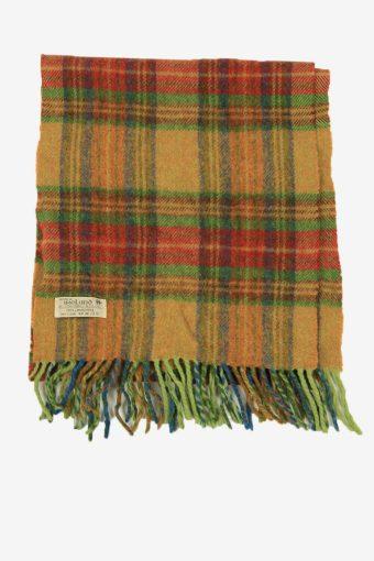 Vintage Lambswool Check Tartan Neck Warmer Scarf Soft  90s Retro Multi