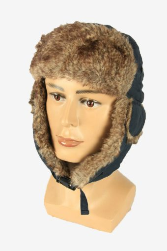Vintage Russian Style Fur Hat Earflaps Winter Warm Navy Size 59 cm