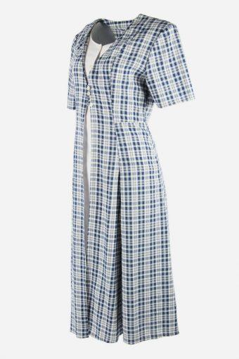 Vintage Short Sleeve Dress Check Print 90s Maxi Women Multi Size XL DR095