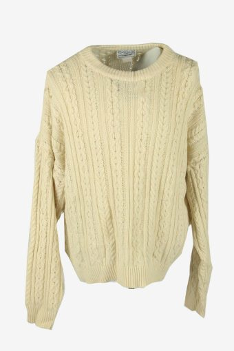 Vintage Wool Jumper Cable Knit Crew Neck Pullover 90s Cream Size XXL
