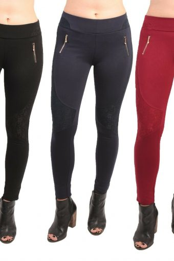 Women's High Waist Stretch Slim Leggings With Lace Single Zip Jeggings 8 To 16
